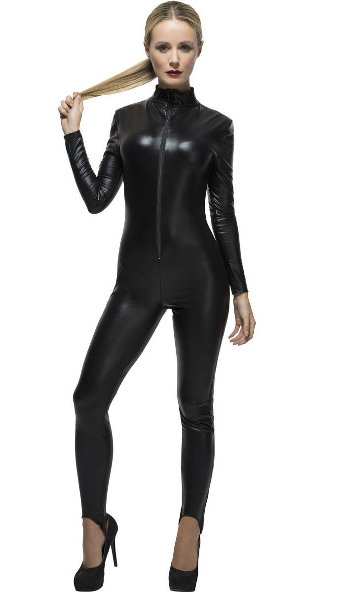 Grab your whip and become a fierce feline in this sexy women's black wet look catsuit costume by Smiffys. This basic black jumpsuit by Smiffys is perfect as a base for your own cat burgler, cat or Catwoman fancy dress costume. See below for full description an dsize details.