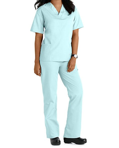 MATCHLESS COMBO, AWESOME VALUEYou already have to make too many decisions in your work day, and this matching scrub set takes one thing off your list. Multiple pockets on the top and pant of this Natural Uniforms scrub set give you plenty of room for your gear. Natural Uniforms Unisex Two Piece Scrub Set Natural Uniforms Unisex Two Piece Scrub Set V-neck top Two patch pockets on the top Four pants pockets, including two side seam pockets and two back pockets 65% polyester/ 35% cott...