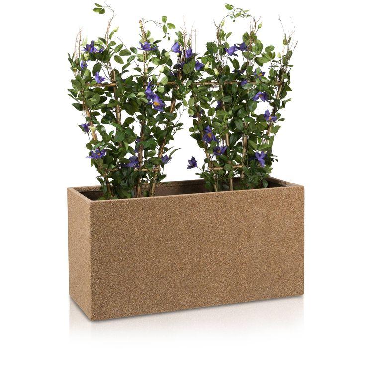 Der Fiberglas-Pflanztrog VISIO 50 hat eine etwas schlankere Silhouette als gewöhnliche Blumentröge und wirkt somit trotz seiner großzügigen Abmessungen nicht allzu wuchtig. Die in aufwändiger Handarbeit gefertigte strukturierte Oberfläche in Beige verleiht dem Pflanztrog ein natürliches Erscheinungsbild. Dementsprechend passt sich der Blumentrog optimal in bereits begrünte Außenbereiche und Gärten ein. In Innenräumen schafft er kleine, grüne Oasen.