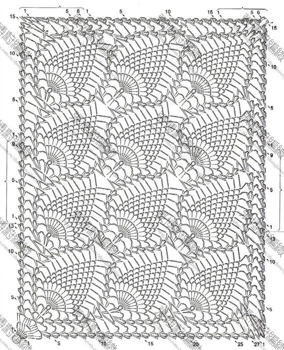 Pineapple rectangle diagram. I think I am going to use it to make a vest/shawl.