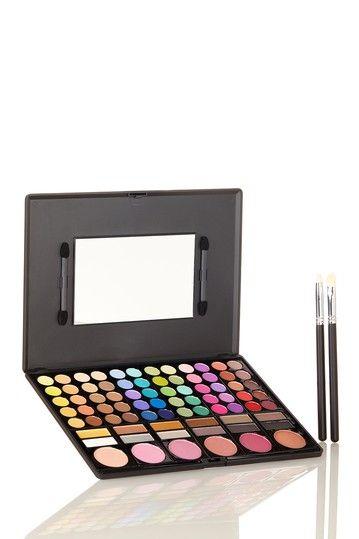 78 Matte Eyeshadow/Blush Palette with Blush & Eyeshadow Brush by Crown Brush on @HauteLook