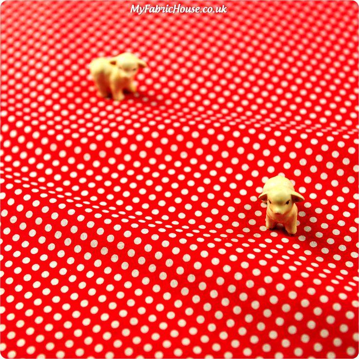 Christmas ♥ 50x53cm Hot Red Polka Dots Cotton Fat Quarter Fabric 4mm Spots £2.29