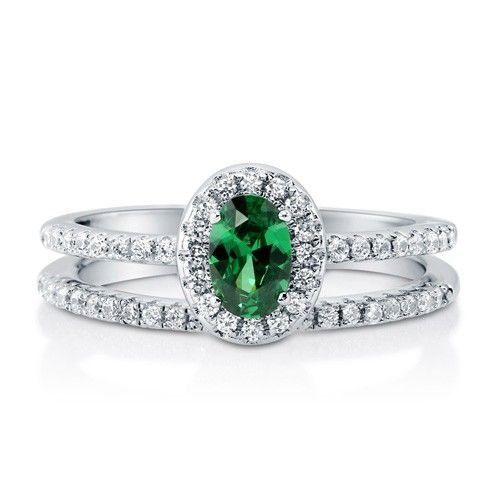 Oval Emerald CZ 925 Silver 2-Pc Halo Ring Set