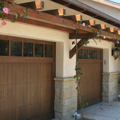 Trellis over garage door craftsman style stone details for Craftsman style garage lights