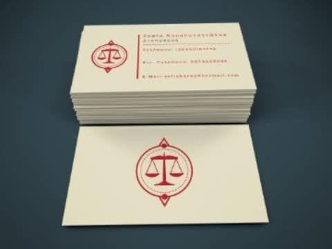 tarjetas de presentación de abogados en rojo