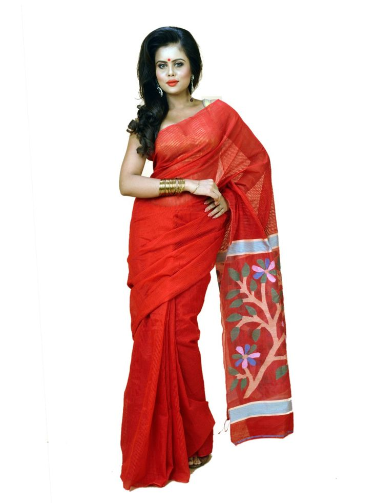 Red Colour Bengal Tant Cotton Saree - Online shopping to buy gorgeous red colour Bengal tant cotton saree with matching blouse dsca0061 in india. Wear dynamic and young style gorgeous designer saree to impress from Indian.
