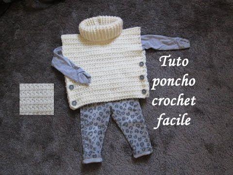 TUTO PONCHO AU CROCHET POINT ETOILE TOUTES TAILLES all sizes poncho knitted crochet - YouTube
