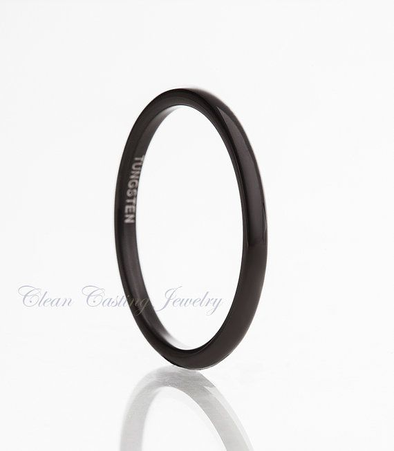 Personalized Tungsten Carbide Wedding Band Ring  Black Enamel Plated High Polish Thin Band 2mm (15 Letters Free Engraving)