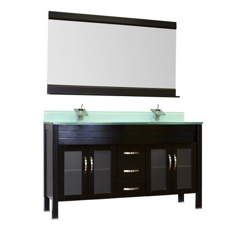 Photos On Elite inch Double Modern Bathroom Vanity in Black with Light Green Glass Top and Mirror
