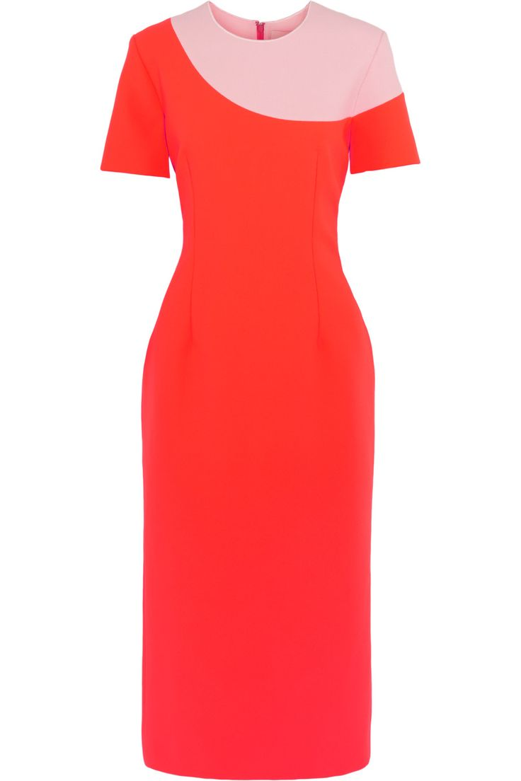 ROKSANDA Selwyn Neon Color-Block Brushed-Felt And Jersey Paneled Dress. #roksanda #cloth #dress