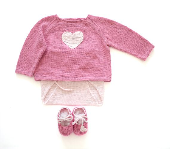 Knitted baby sweaterdiaper cover and shoes a sweet by tenderblue