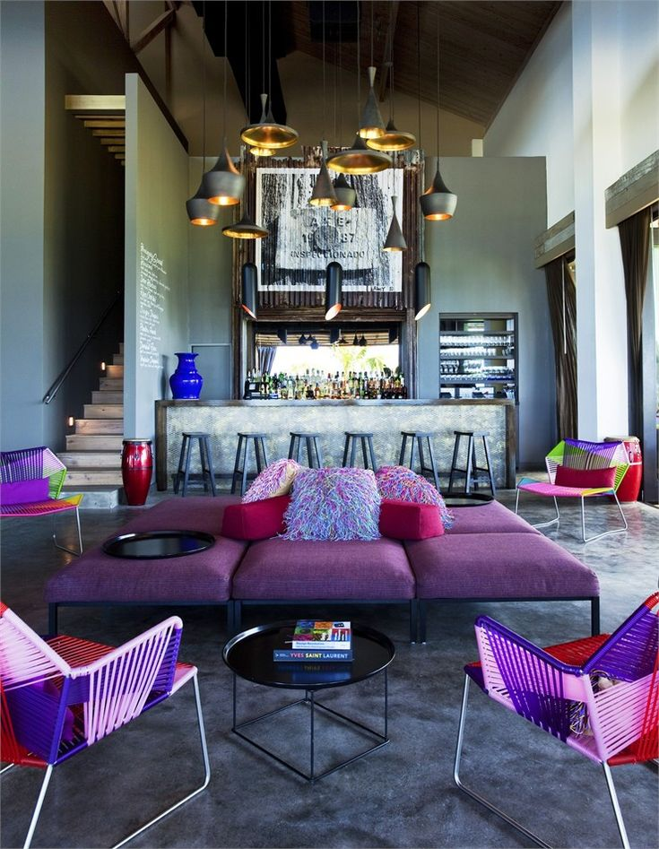 W Retreat & Spa, Vieques Island, Puerto Rico  designed by Patricia Urquoia, rest by Alain Ducasse, bold furnishings by B Italia