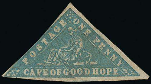 Cape of Good Hope, SG 13c. 1861 Woodblock 1d. pale milky blue, error of colour, large margins mainly all round, lightly cancelled, small thin, natural paper creases, otherwise good appearance. Very rare. R.P.S. Certificate (1960). S.G. 13c, £30,000. Photo (Estimate 4500 - 5500)