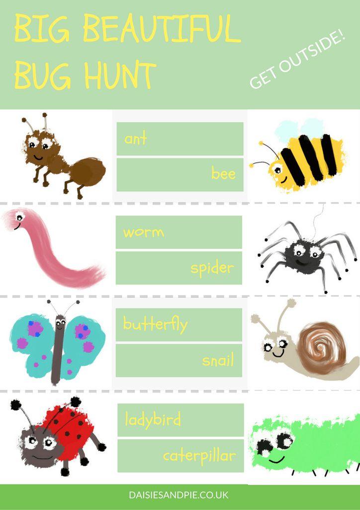 Super cute bug hunt printable for preschool kids. Summer fun for kids