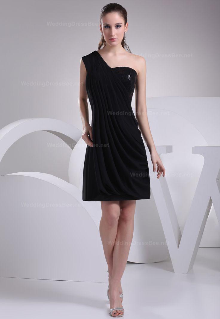One shoulder A-line chiffon bridesmaid dress  Sheath/Column, Above the Knee, One Shoulder, Natural, Sleeveless, Ruffles, Sequins, Zipper, Chiffon, Spring, Summer, Fall,