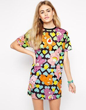Ichiban T-Shirt Dress With All Over Care Bear Heart Print