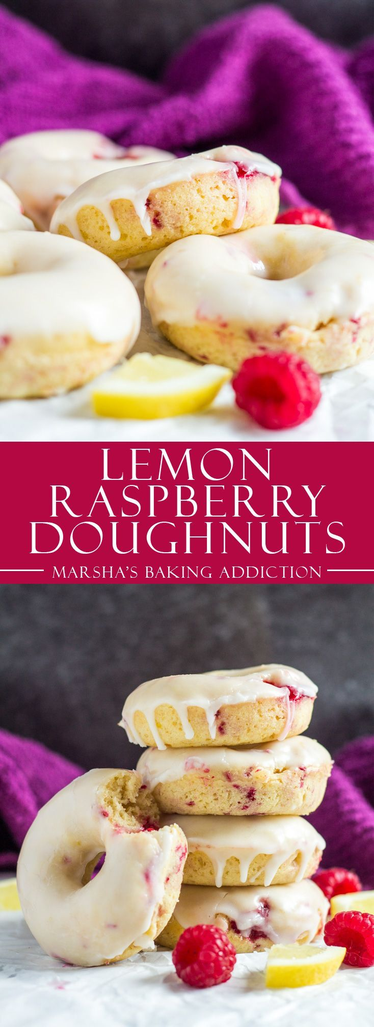 Baked Lemon Raspberry Doughnuts | marshasbakingaddiction.com @marshasbakeblog