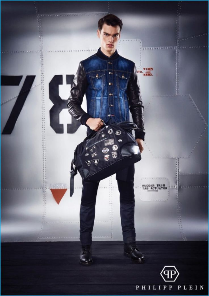 Filip Hrivnak is front and center in a denim and leather jacket from Philipp Plein's pre-fall 2016 collection.