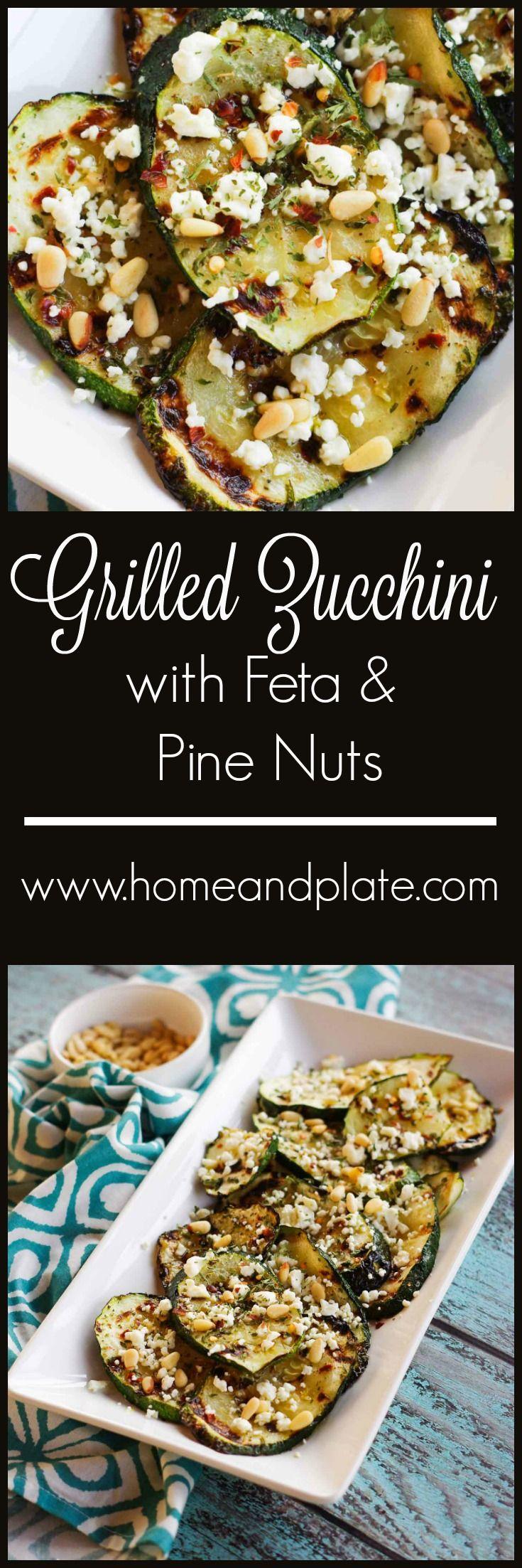 Ψητά κολοκυθάκια με φέτα & κουκουνάρι |  www.homeandplate.com |  Αυτή η συνταγή ψητά κολοκυθάκια με φέτα και κουκουνάρι κάνει το ψήσιμο στη σχάρα από την εύκολη και νόστιμη.
