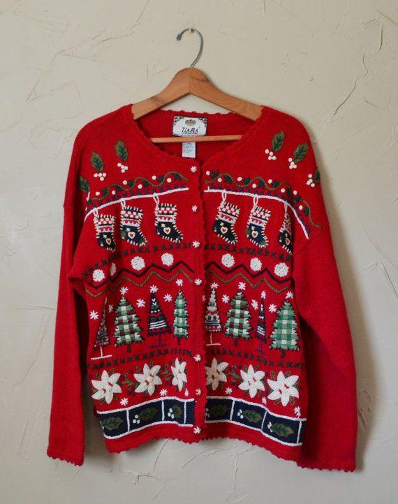 Vintage Sweater Cardigan Sweater Christmas by founditinatlanta