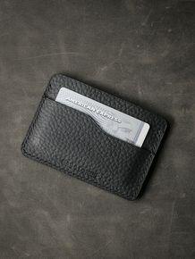 """""""Ford"""" Pebbled Matte Black Leather Slim Wallet"""