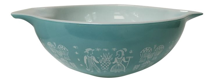 Mid-Century Pyrex Turquoise Mixing Bowl on Chairish.com
