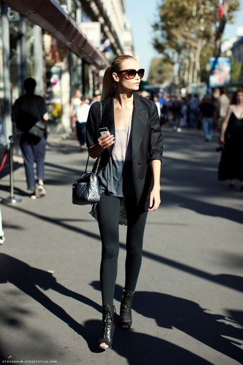 boots, leggings, blazer/jacket and two tone tank