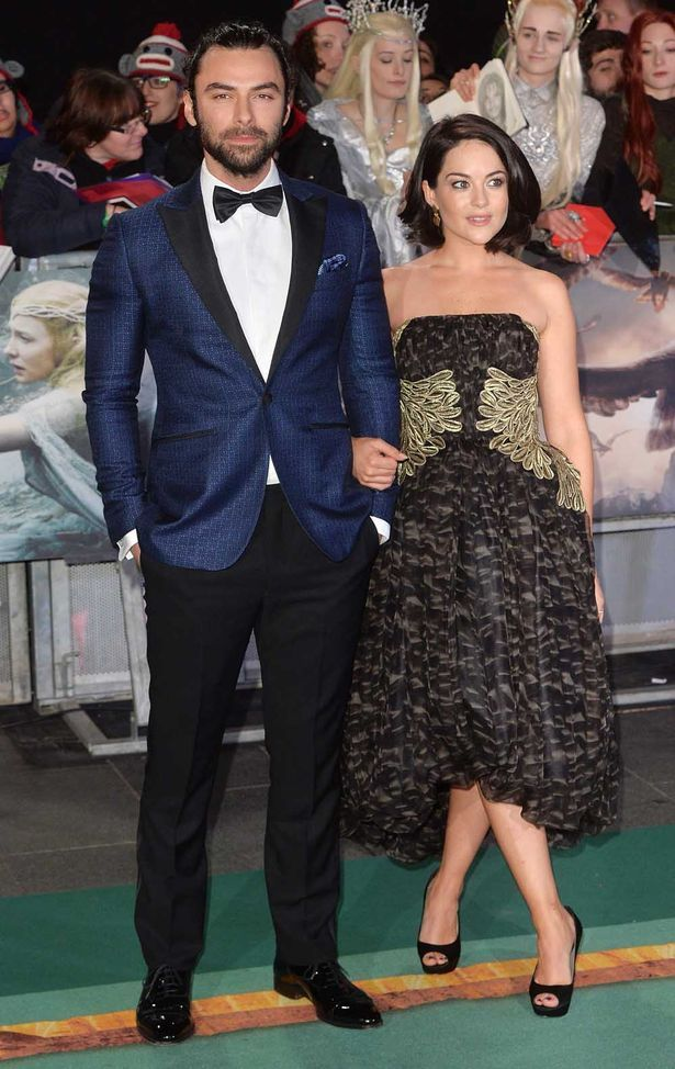"""Aidan Turner and Sarah Greene attend the World Premiere of """"The Hobbit: The…"""