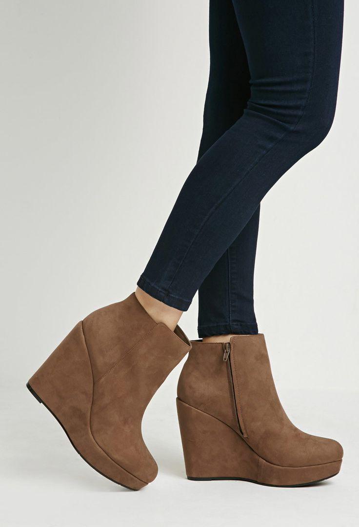 Bottines en Faux Suède à Talon Compensé - chaussures et bottes pour Femmes| voir en ligne | Forever 21 - 2000161784 - Forever 21 EU Français