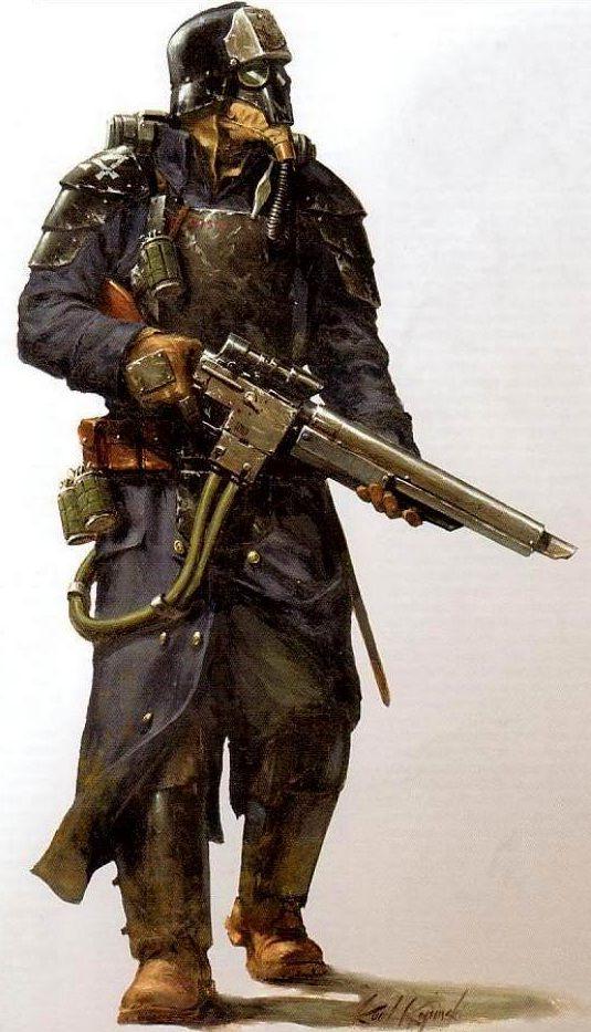 An elite Krieg Grenadier of the Death Korps of Krieg