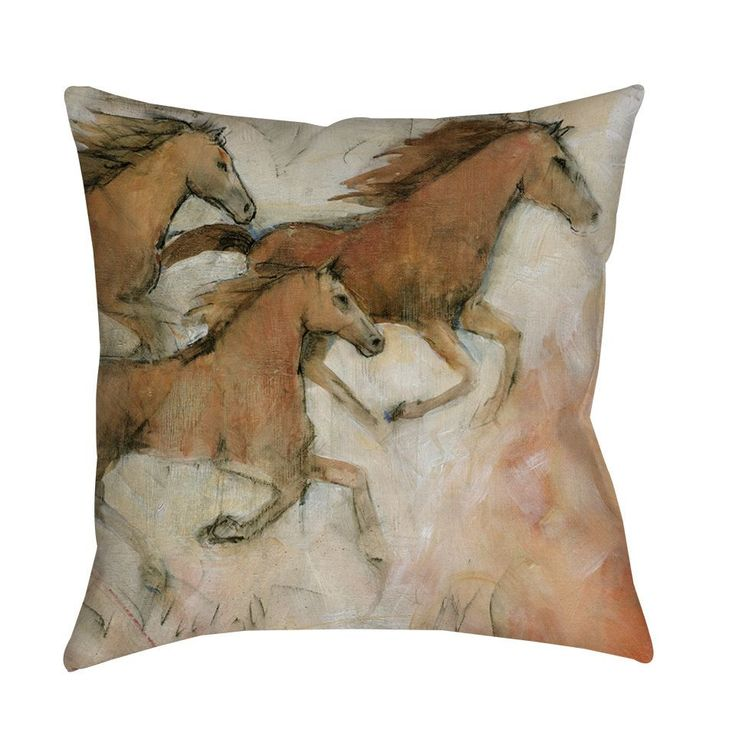 Thumbprintz Horse Fresco II Indoor/ Outdoor Throw Pillow (18 x 18), Multi (Polyester, Animal)
