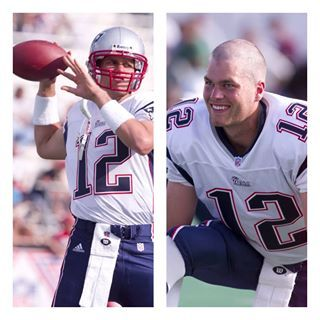 this is the first picture of Tom Brady on his first day he played quaterback for the pats