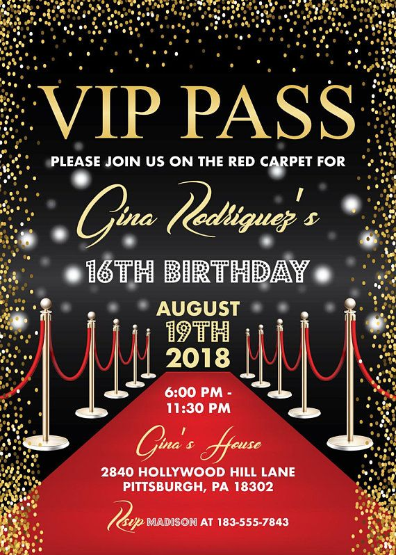 vip pass hollywood red carpet birthday invitation  sweet