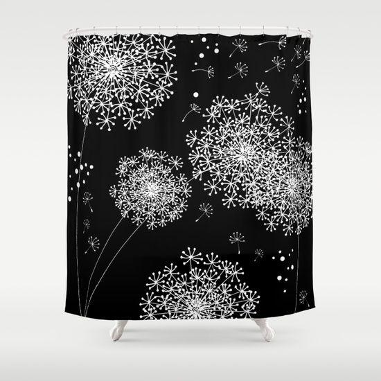 dandelion snowflake black shower curtain