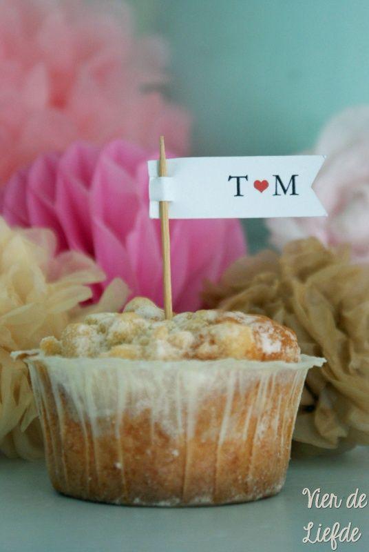 Bruiloft cupcakeprikker - Initialen