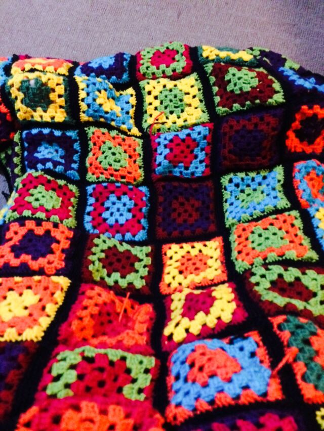 My first granny square blanket 2014