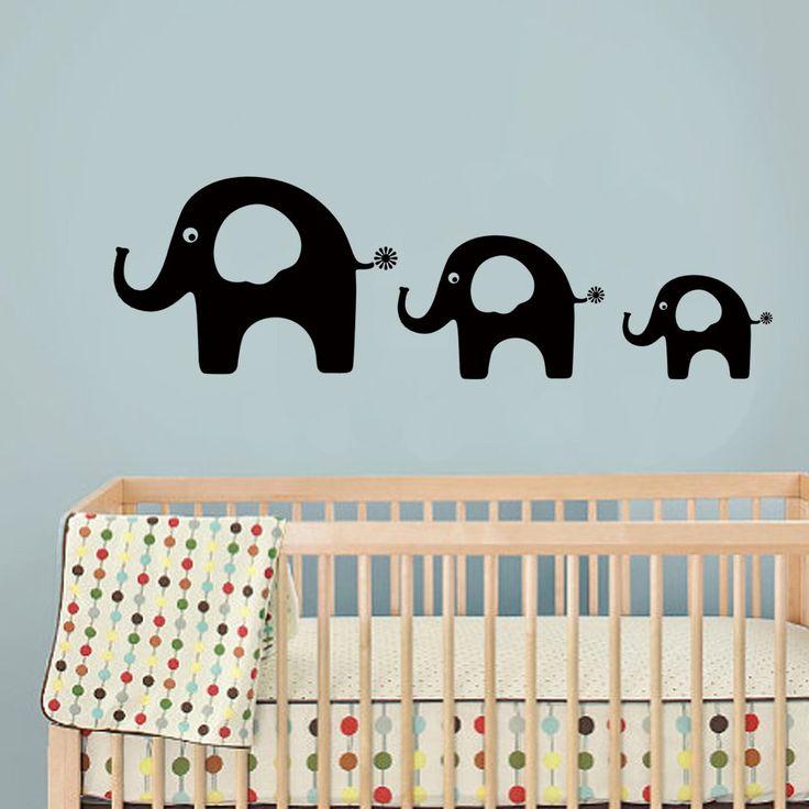 Слон Виниловые Наклейки-Детская Комната Наклейка Детские Ясли Стены Искусства Слон Папа Мама и Слоненок 34 x 11 S