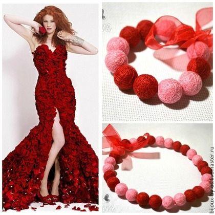 """""""Лепестки роз"""" Комплект украшений из ниток - ярко-красный,красно-розовый"""