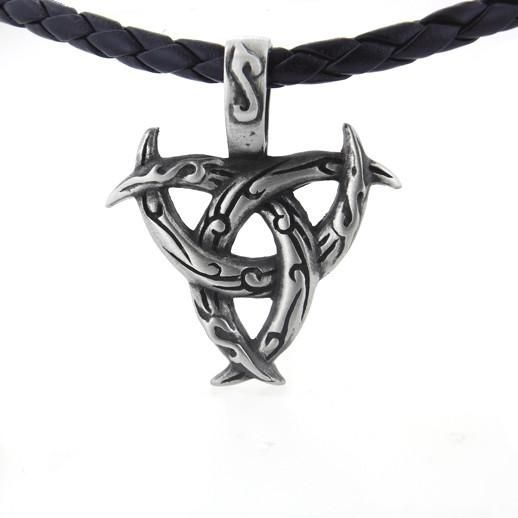 "Celtic Tribal Protection Triquetra Knot Pewter Pendant 20"" Woven Cord Necklace"