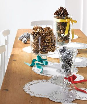 Fabulous for a Christmas partyPinecone, Christmas Parties, Centerpieces Ideas, Decor Ideas, Holiday Centerpieces, Pine Cones, Cones Centerpieces, Holiday Decor, Holiday Tables