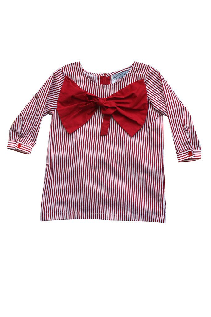 Little Babushka - Red striped bow shirt