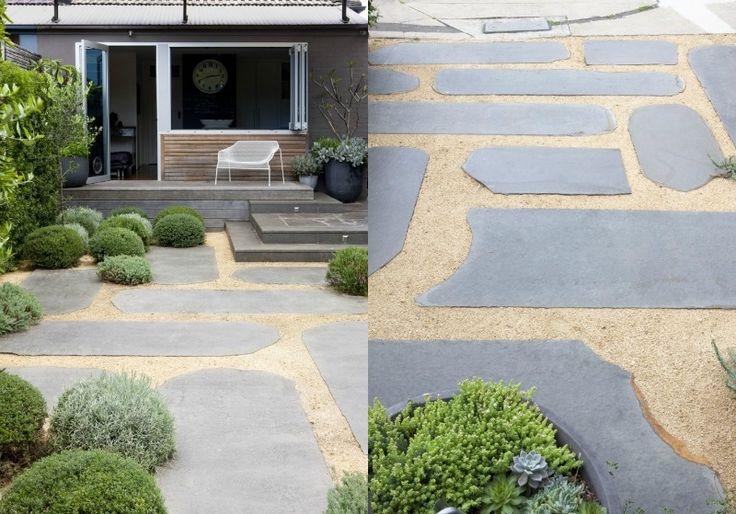 Splitt Garten Kies Natursteinplatten Ideen | Innen- und Außendesign