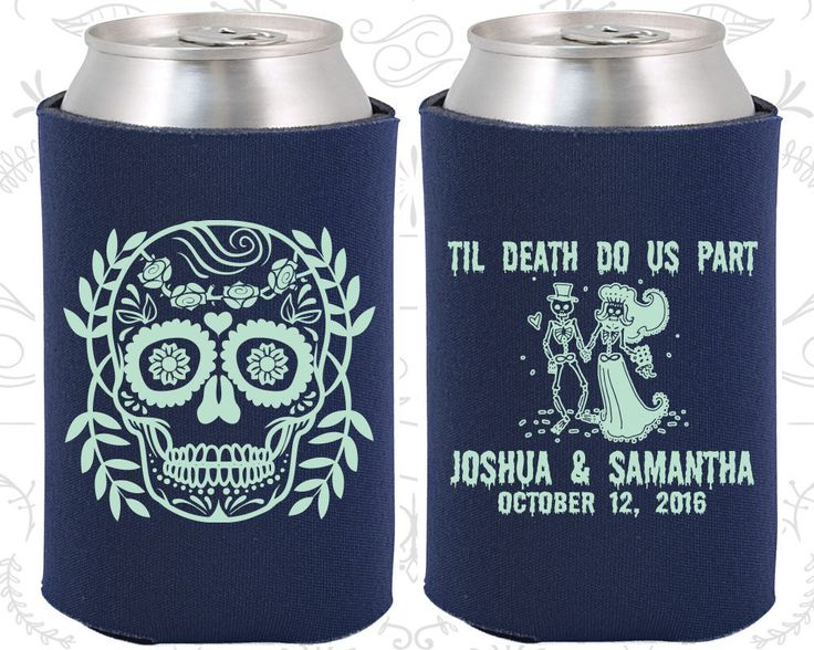Till Death Do Us Part, Sugar Skull Wedding Favors, Day of the Dead Wedding Favors, Candy Skull Wedding, Dia De Los Muertos Wedding Koozies  (597)