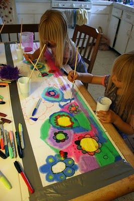 This looks SO fun! The kids make their own skirt prints.Filth Wizardry, Painting Skirts, Art Summer, Art Fabrics, Painting Sewing Skirts, Fabric Markers Shirt, Painting Creations, Clothing Skirts, Fabrics Painting