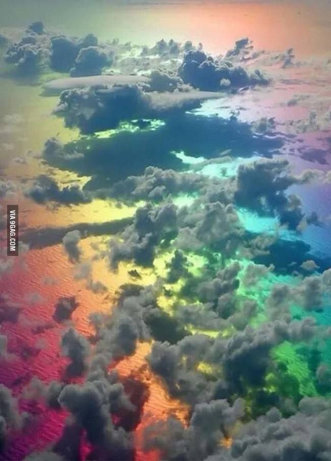 Looking down onto a rainbow.