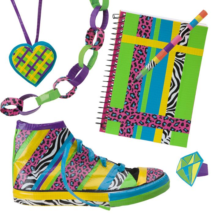 Tear, stick & Wear.  Create a new look with various duct tape colors! Decorate a notebook, shoes, pens and accessories…the possibility are endless