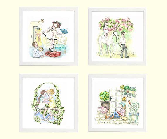 Whimsical Children's Art Series of 5x5 Giclee Prints