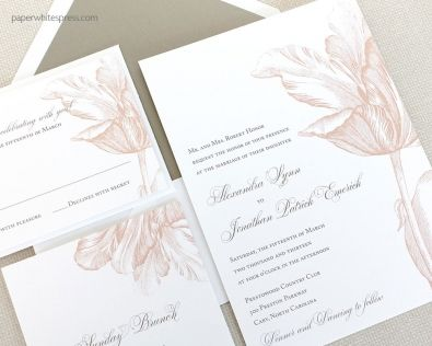 Our Tulip wedding invitation is our most popular choice for a garden wedding - with a lush and fun tulip flower, this wedding invitation has become a bride favorite!  This invitation is perfect for a spring time wedding.  Customize in your colors!