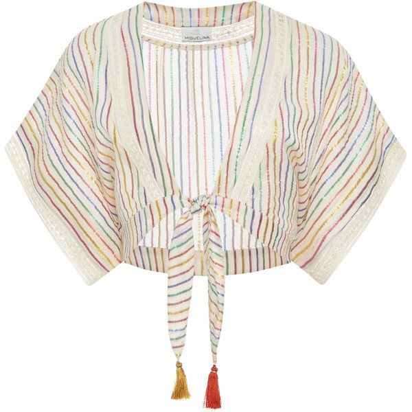 Miguelina Saanchi Stripe Blouse (724.870 COP) ❤ liked on Polyvore featuring tops, blouses, stripe, white tops, metallic crop top, white crop tops, woven top and cropped white blouse