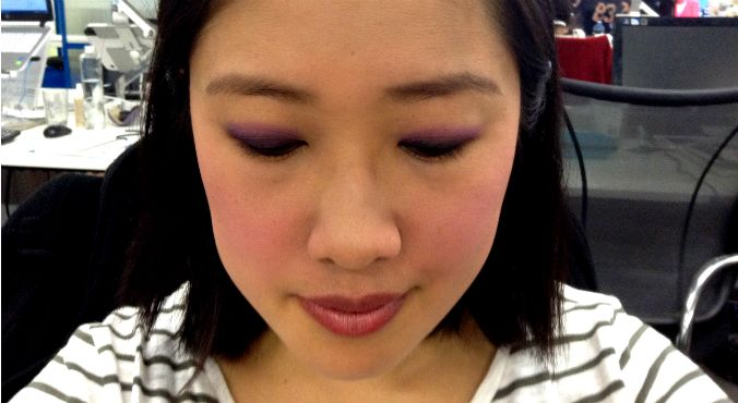 How to wear purple: Carla GS wears Urban Decay Afterglow 8-Hour Powder Blush in Bittersweet as an eyeshadow. Source: Supplied.